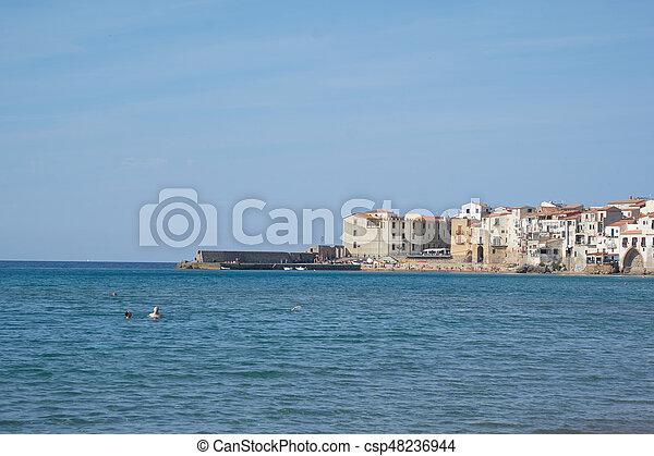 ville, cefalu, sicile, plage, vue - csp48236944