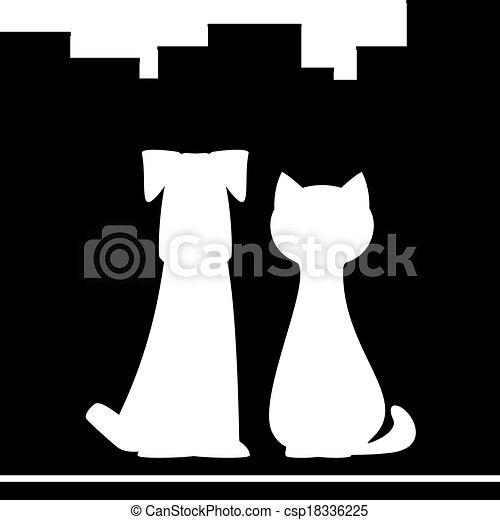 ville, chien, fond, chat - csp18336225