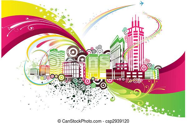 ville, coloré, fond - csp2939120