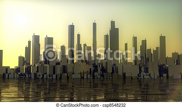 ville, coucher soleil, panorama, océan - csp8548232