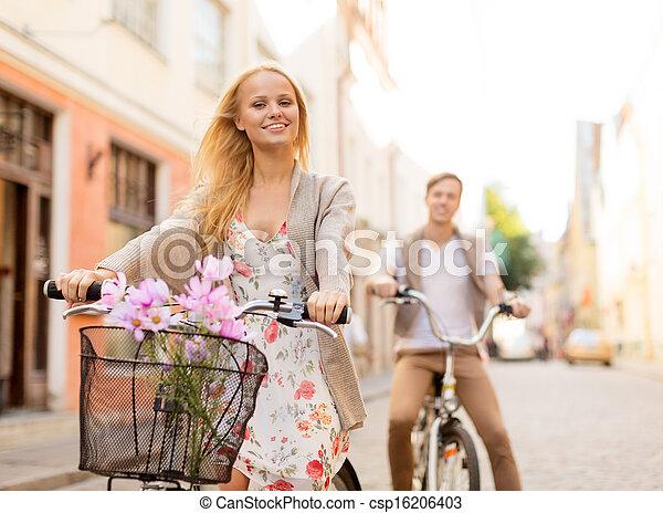 ville, couple, bicycles - csp16206403