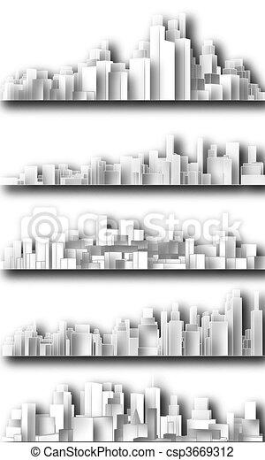 ville, coupure, horizons - csp3669312