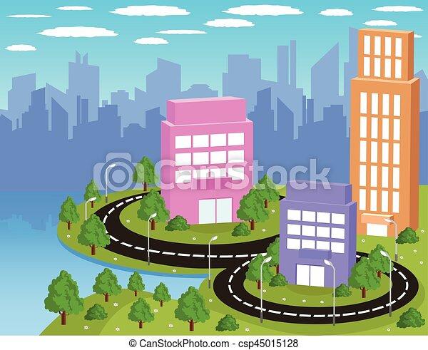 ville, dessin animé, coloré - csp45015128