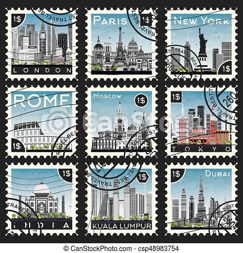 ville, différent, ensemble, landmarks., timbres - csp48983754