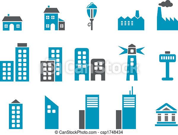 ville, ensemble, icône - csp1748434