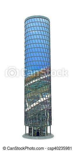 ville, fait, reflet, sky., moderne, illustration, gratte-ciel, verre, 3d - csp40235981