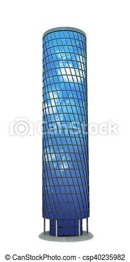 ville, fait, reflet, sky., moderne, illustration, gratte-ciel, verre, 3d - csp40235982