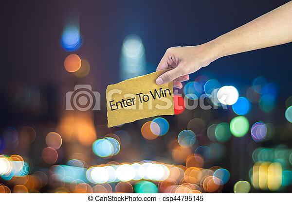 ville, fait, tenue, lumière, entrer, main, bokeh, papier, fond, gagner, signe, sucre - csp44795145