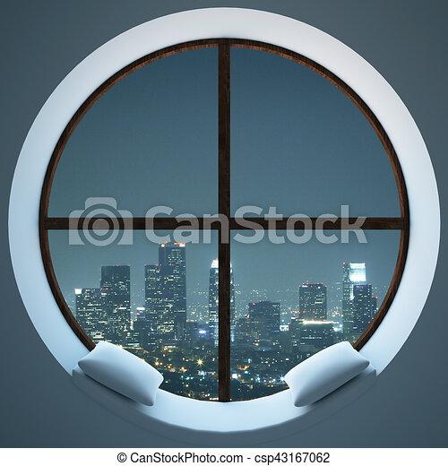 Ville fen tre circulaire vue nuit ville confortable for Piscine destock