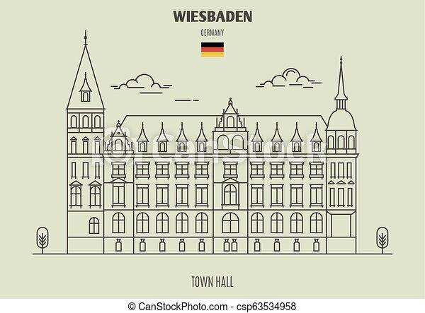 ville, germany., repère, wiesbaden, salle, icône - csp63534958