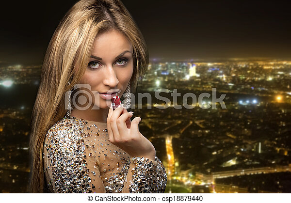 ville, girl, puces casino, fond - csp18879440