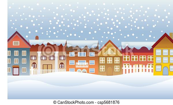 ville, hiver - csp5681876