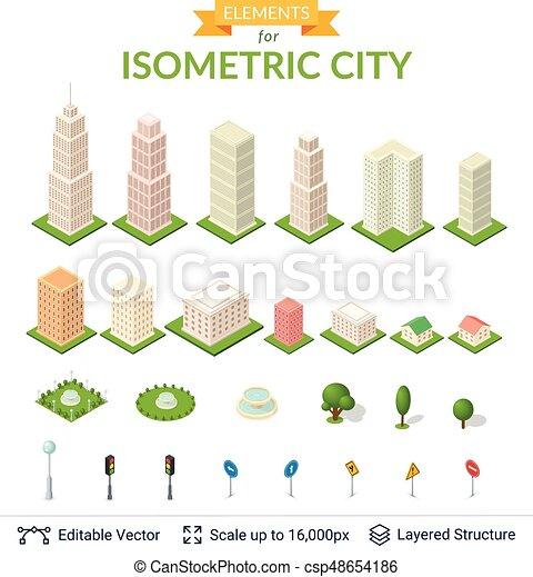 ville, isométrique, set., icône - csp48654186