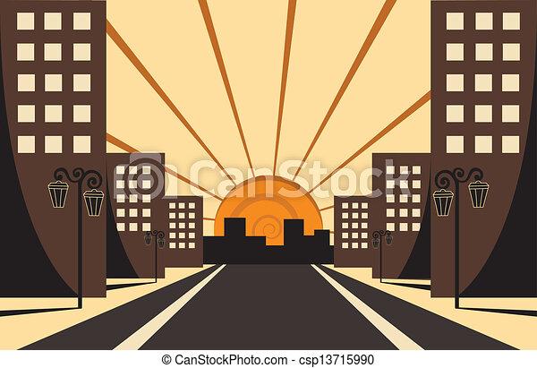 ville, levers de soleil - csp13715990