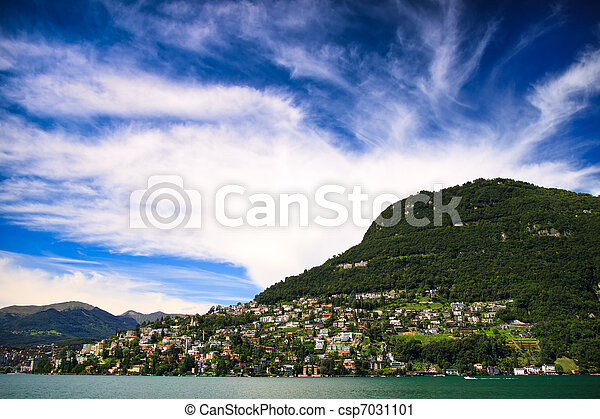 ville, lugano, lac, vue - csp7031101