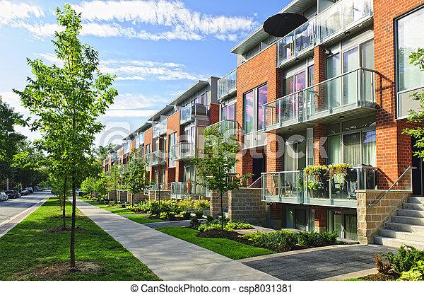 Ville, maisons, moderne. Ville, urbain, maisons, moderne ...