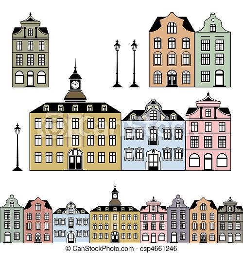 ville, maisons, vecteur, vieux, illustration - csp4661246