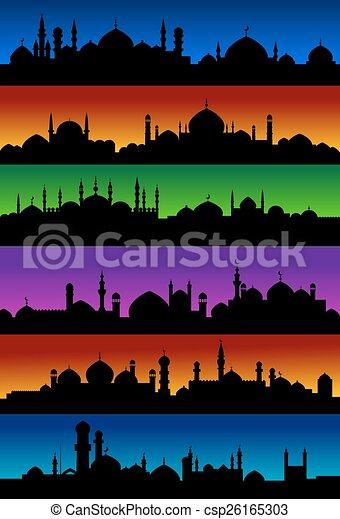 Ville, mosquées, arabe, horizons, oriental. Ville, horizons ...