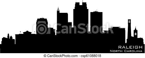 ville, nord, horizon, vecteur, raleigh, silhouette, caroline - csp61088018