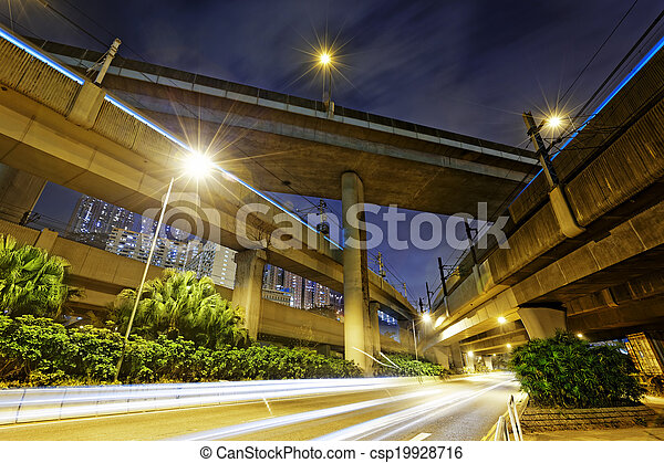 ville, nuit, route, lumières, passage supérieur - csp19928716