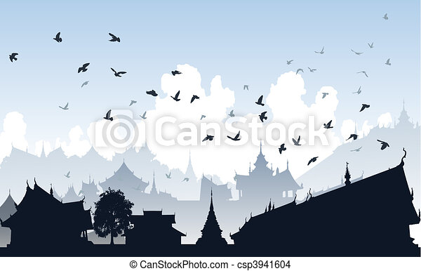 Ville, oiseau, oriental. Ville, générique, sur, editable ...
