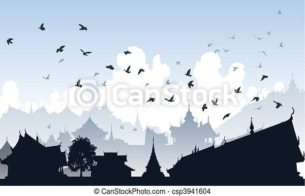 Ville, Oiseau, Oriental   Csp3941604