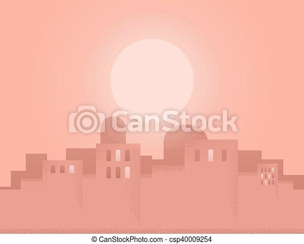 Ville, oriental. Soleil, vecteur, city., illustration, oriental.