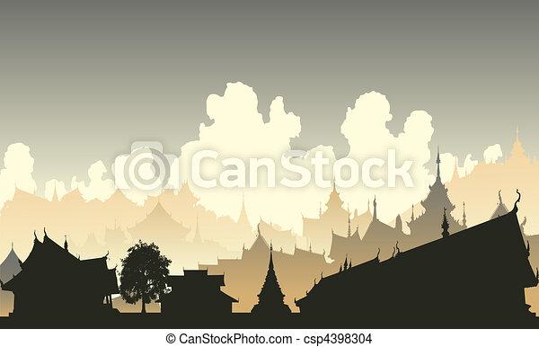 Ville, oriental. Ville, générique, editable, illustration ...