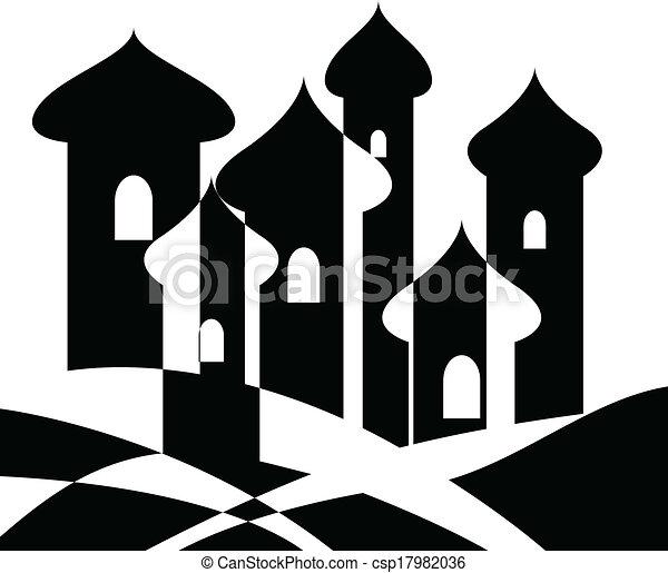Ville, oriental. Vecteur, city., illustration, oriental.
