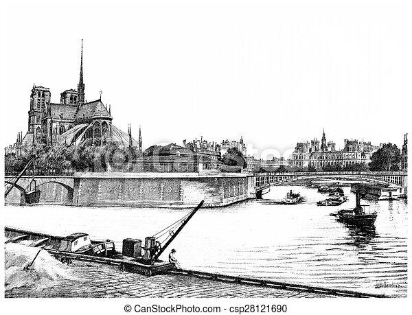 Ville, oriental, vendange, pointe, île, engraving. 1890 ...