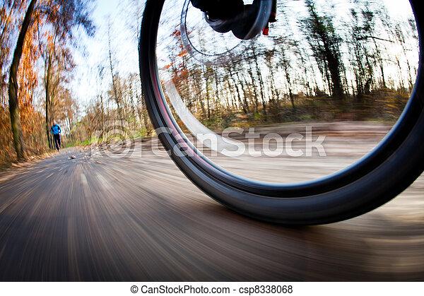ville, parc bicyclette, autumn/fall, équitation, agréable, jour - csp8338068
