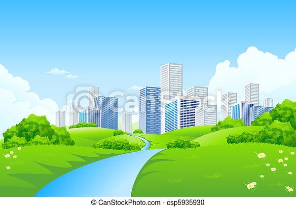 ville, paysage vert - csp5935930