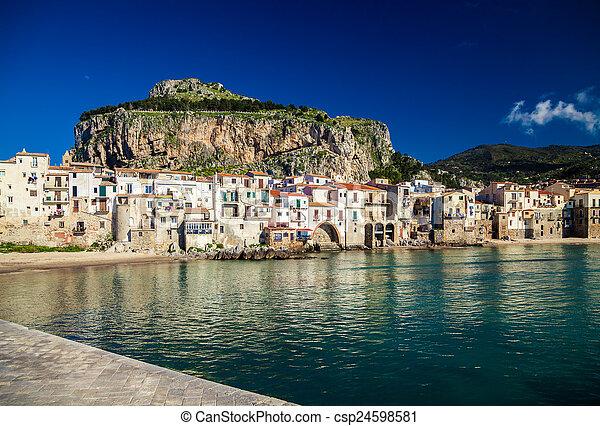 ville, port, cefalu, surprenant, petit, vue - csp24598581
