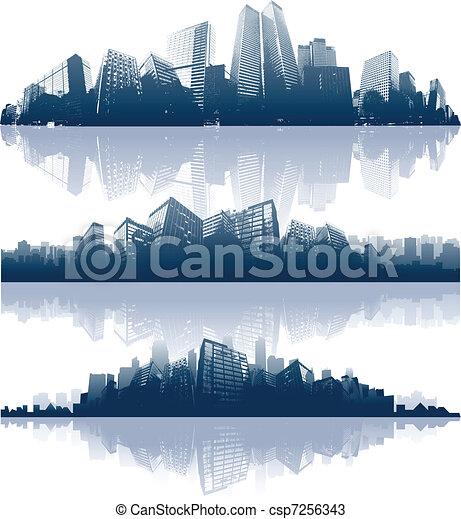 ville, réflexions - csp7256343