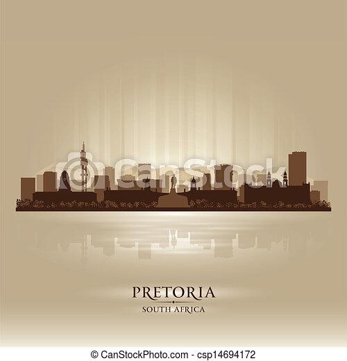 ville, silhouette, afrique, horizon, pretoria, sud - csp14694172