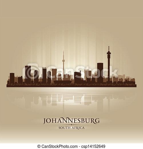 ville, silhouette, afrique, johannesburg, horizon, sud - csp14152649