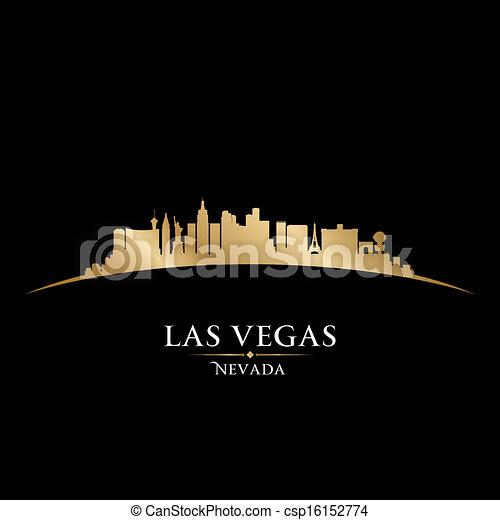 ville, silhouette, horizon, vegas, arrière-plan noir, nevada, las - csp16152774