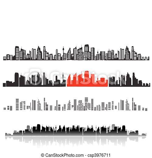 ville, silhouettes, paysage, noir, maisons - csp3976711