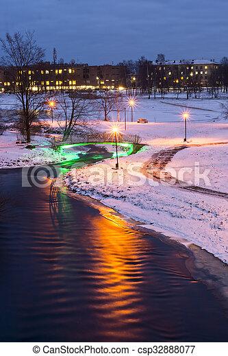 ville, soir, parc, hiver - csp32888077
