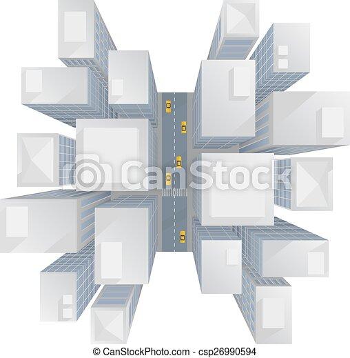 ville, sommet, gratte-ciel, vue - csp26990594