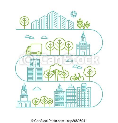 ville, style, vecteur, linéaire, illustration - csp26898941
