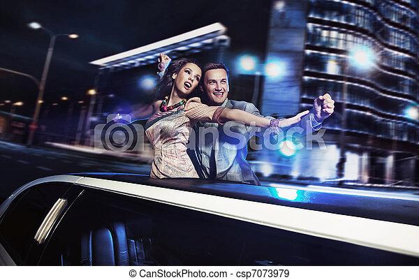 ville, sur, fond, nuit, sourire, couple - csp7073979