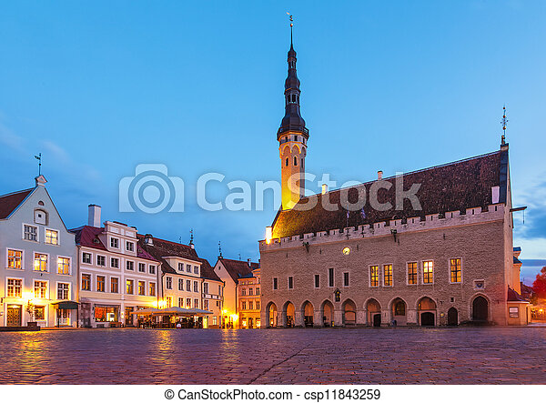 ville, tallinn, carrée, salle, estonie - csp11843259