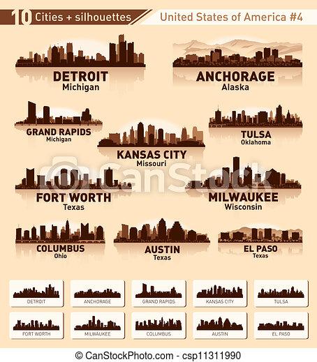 ville, usa, 10, set., horizon, villes, #4 - csp11311990