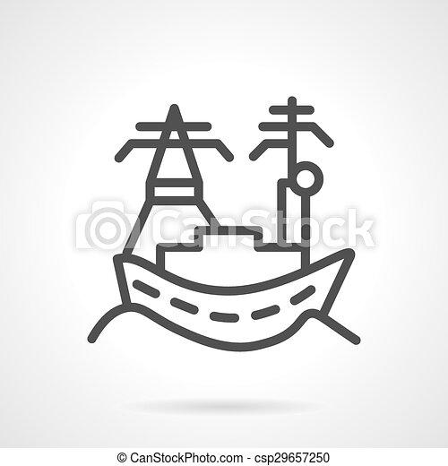 Ville Vecteur Mer Ligne Port Icone Port Industry Elements Naval Business Toile Simple Vecteur Website