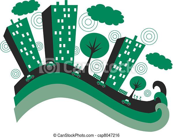 ville, vert - csp8047216