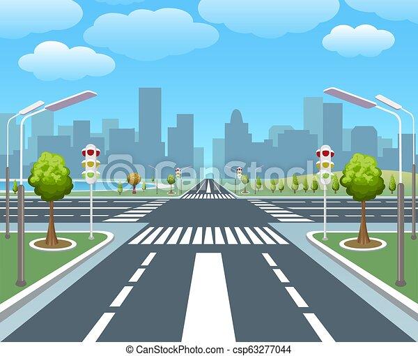 ville, vide, route - csp63277044