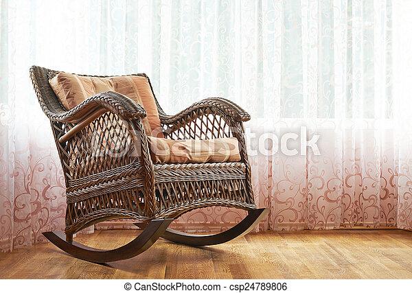 vime, cadeira balanço, composição - csp24789806