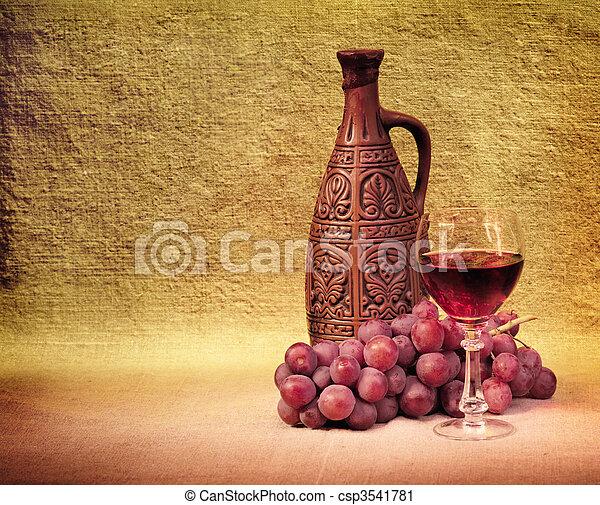 vin buteljerar, artistisk, druvor, ordning - csp3541781