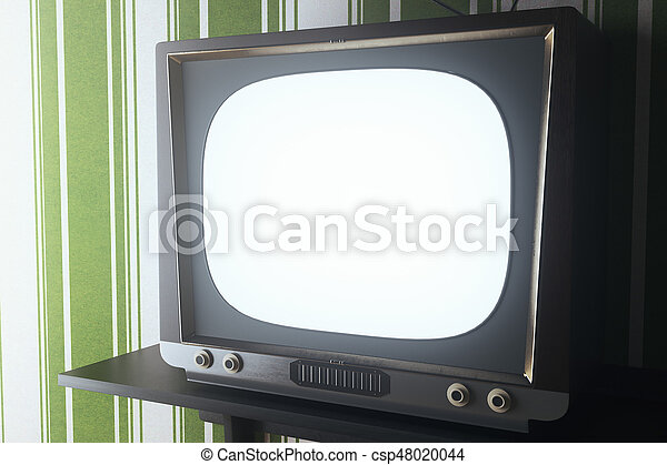 Vinatge Tv Closeup Close Up Of Vintage With Blank White Screen